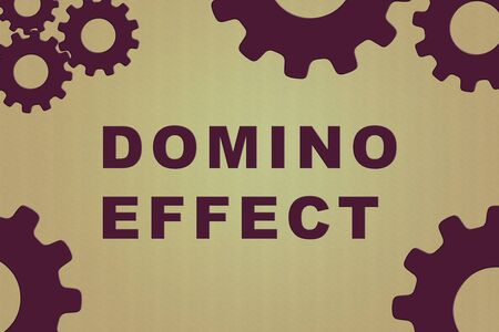 DOMINO EFFECT sign concept illustration with vilolet gear wheel figures on colored gradiennt background