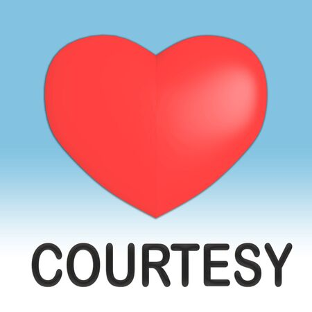3D illustration of COURTESY title under a red heart, isolated on pale blue gradient.