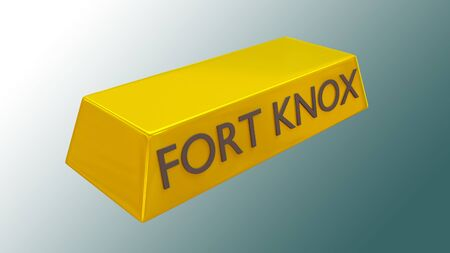 3D illustration of FORT KNOX title gold bar, with green gradient as a background