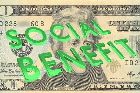 3D illustration of SOCIAL BENEFIT title on Five Dollars bill as a background