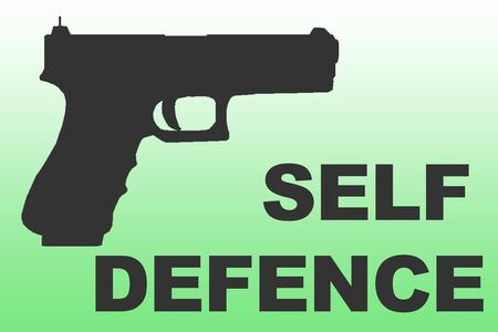 SELF DEFENCE sign concept illustration with a gun figure on green gradient