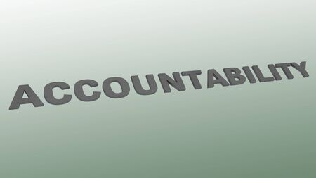 3D illustration of ACCOUNTABILITY script over a green gradient