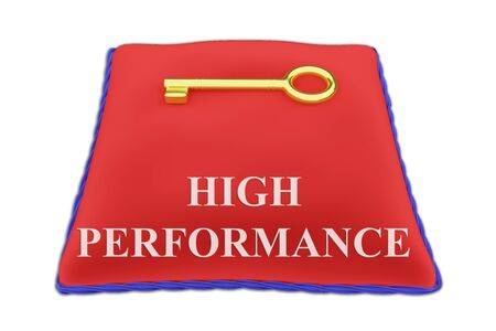 Render illustration of HIGH PERFORMANCE Title on red velvet pillow with a golden key, isolated on white.