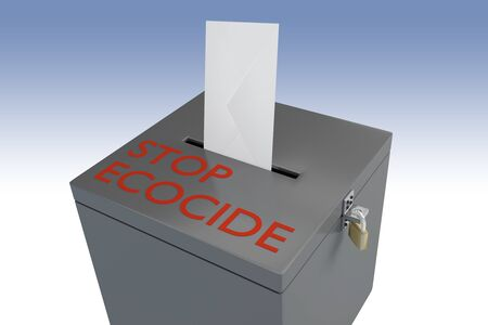 3D illustration of STOP ECOCIDE script on a ballot box, and a voting envelope inserted into the ballot box, isolated over a blue gradient.
