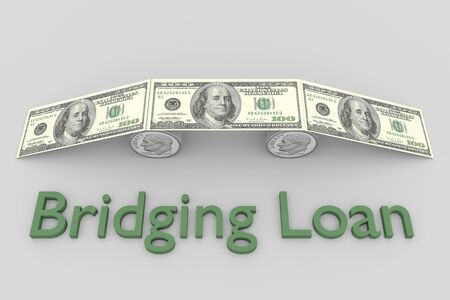 3D illustration of a symbolic bridge composed of coins and bills with the title Bridging Loan, isolated over gray background.
