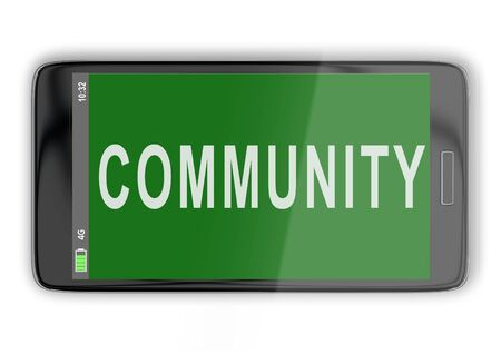 3D illustration of COMMUNITY title on cellular screen, isolated on white. Stockfoto