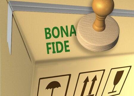 3D illustration of BONA FIDE stamp title on a merchandise carton