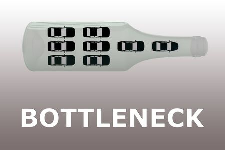 3D illustration of cars in a glass bottle with the text BOTTLENECK, isolated over gray gradient. Standard-Bild