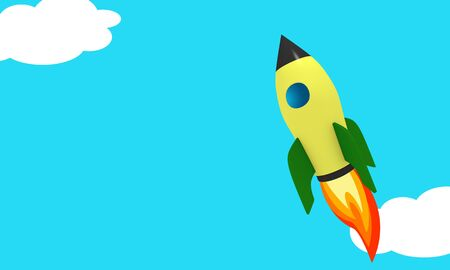 Rocket boost in the sky concept with 3d illustration render of comic style rocket over skies and clouds with copyspace for title Zdjęcie Seryjne