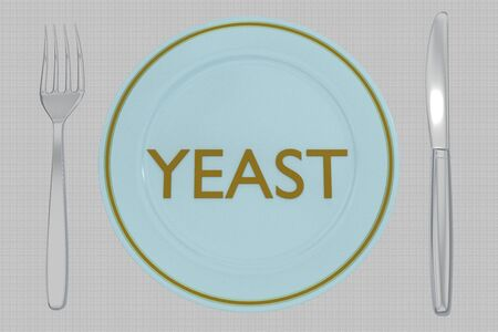 3D illustration of YEAST title on a pale blue plate, along with silver knif and fork, on a gray napkin background.