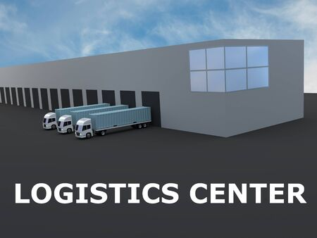3D illustration of LOGISTICS CENTER title under a warehouse and three semitrailers, isolated over blue gradient.