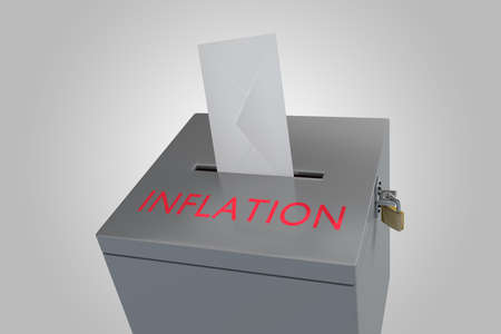 3d illustration of INFLATION title on ballot box, isolated over gray gradient.