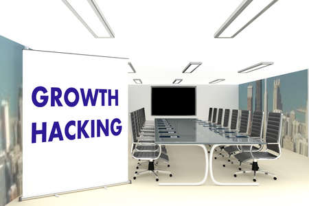 3D illustration of conference room, and the script GROWTH HACKING on a roll-up screen. Reklamní fotografie