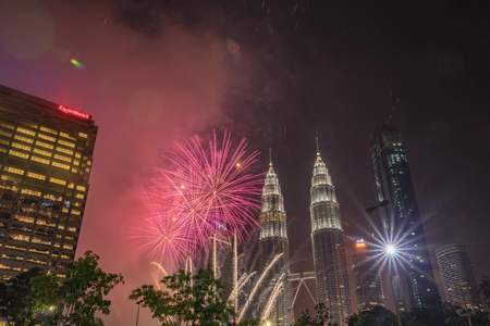 Fireworks display for Merdeka Day Celebration at KLCC, Kuala Lumpur, Malaysia Editorial