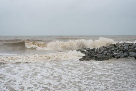 big waves at pantai cinta berahi beach locates in kota bharu, kelantan, malaysia