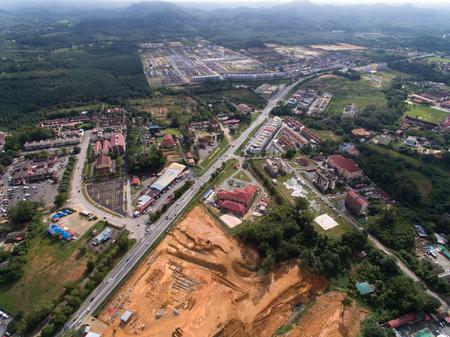 aerial view of kuala krai gua musang highway located in kuala krai, kelantan, malaysia and surroundings