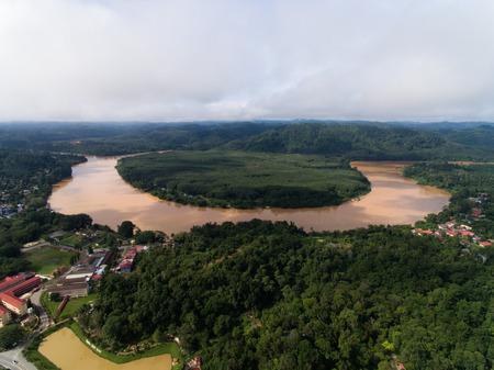 aerial view of sungai kelantan river. located in Kuala Krai, Kelantan, malaysia Stock Photo