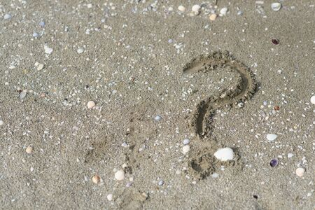 question mark wriiten on a sandy beach. Concept of faq, travel tips and travel destinations Reklamní fotografie