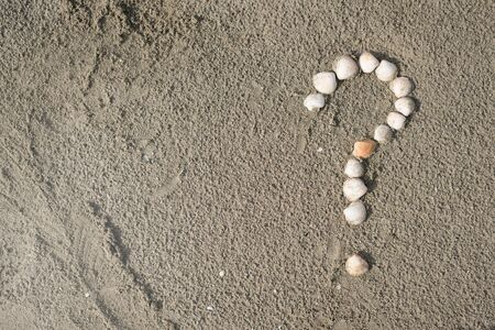 sea shells forming a question mark on a sandy beach. Concept of faq, travel tips and travel destinations Фото со стока
