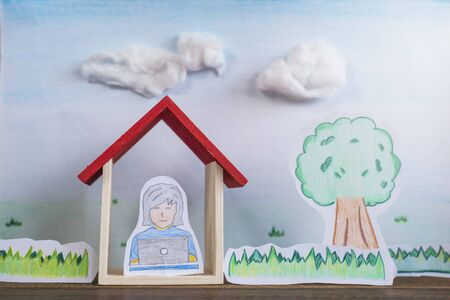 hand drawn of a trees,grass and a businesswoman working from home. Concept of home business, e-learning and self quarantine in crisis lockdown 免版税图像 - 144232230