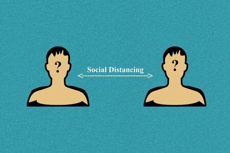 Illustration concept of social distancing in global pandemic crisis. coronavirus covid-19 preventio 스톡 콘텐츠