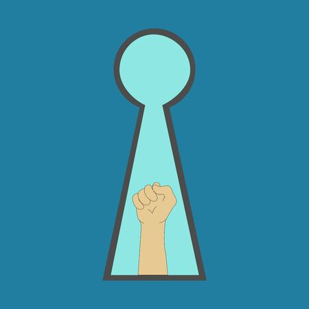 Symbol of a hand gesturing success look through a keyhole. Concept of Success in business and achievement