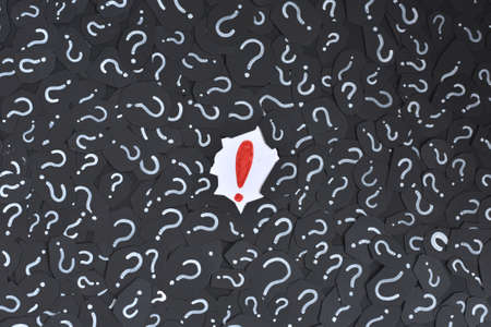 Exclamation mark on a question mark background. Concept of decision, faq, q&a and riddle Standard-Bild