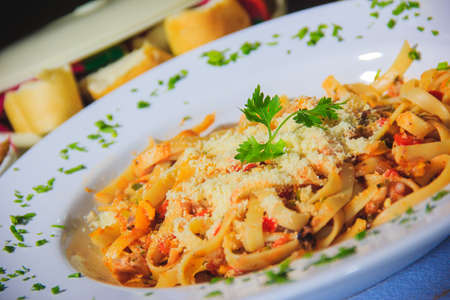 this is a pasta plate Imagens