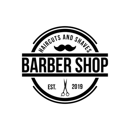 Barbershop emblem design template vector Иллюстрация