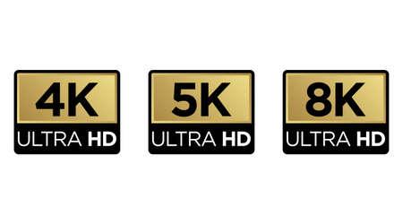 Golden 8K, 4K, 5k Ultra HD Video Resolution Icon Logo; High Definition TV / Game Screen monitor display Label