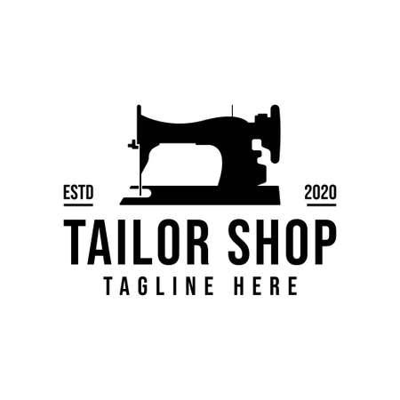 Tailor's vector logo design. Sewing machine icon. Textile emblem. Clothes label.
