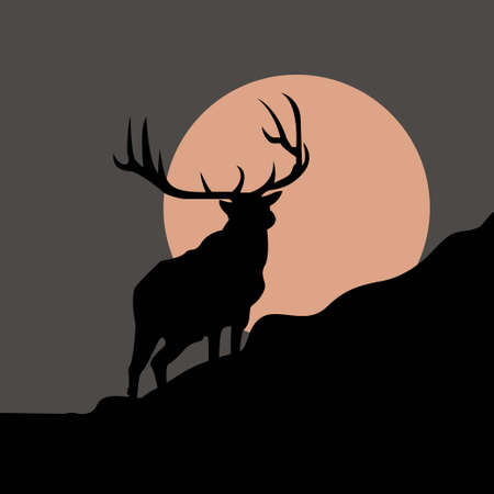 Vector silhouette of deer on moon background. Symbol of night.