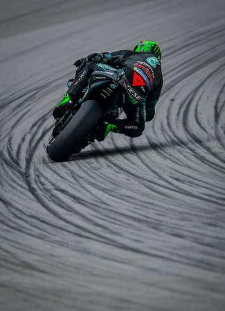 SEPANG, MALAYSIA - NOVEMBER 03, 2019 : Franco Morbidelli of Italy and Petronas Yamaha SRT rides during the Malaysia Motorcycle Grand Prix (MotoGP) at Sepang International Circuit (SIC).