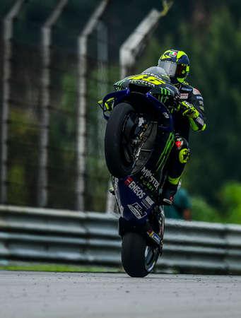 SEPANG, MALAYSIA - NOVEMBER 03, 2019 : Valentino Rossi (46) of Italy and Yamaha Factory Racing during the Malaysia Motorcycle Grand Prix (MotoGP) at Sepang International Circuit (SIC).