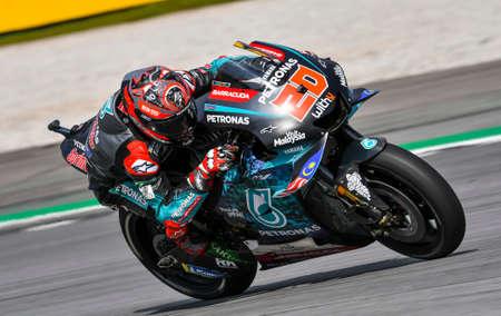 SEPANG, MALAYSIA - NOVEMBER 03, 2019 : Fabio Quartararo of France and Petronas Yamaha SRT rides during the Malaysia Motorcycle Grand Prix (MotoGP) at Sepang International Circuit (SIC). Editorial