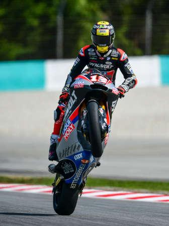 SEPANG, MALAYSIA - NOVEMBER 03, 2019 : Dynavolt Intact's Swiss rider Thomas Luthi during the Moto2 Malaysia Motorcycle Grand Prix (MotoGP) at Sepang International Circuit (SIC).