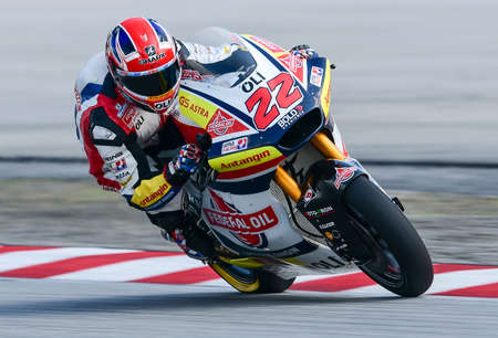SEPANG, MALAYSIA - NOVEMBER 03, 2019 : Sam Lowes of Great Britain and Federal Oil Gresini during the Moto2 Malaysia Motorcycle Grand Prix (MotoGP) at Sepang International Circuit (SIC).