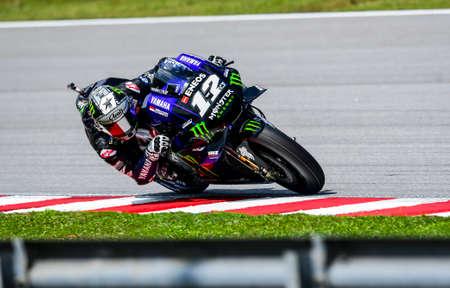 SEPANG, MALAYSIA - NOVEMBER 03, 2019 : Maverick Vi–ales of Spain (12) and Yamaha Factory Racing during the Malaysia Motorcycle Grand Prix (MotoGP) at Sepang International Circuit (SIC). Editorial