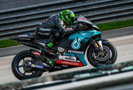 Kuala Lumpur, Malaysia - February 08, 2019 : Franco Morbidelli of Italy and Petronas Yamaha SRT in action during the 2019 MotoGP pre-season testing at the Sepang International Circuit Editorial
