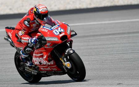 Kuala Lumpur, Malaysia - February 08, 2019 : Ducati Team Italian rider Andrea Dovizioso in action during the 2019 MotoGP pre-season testing at the Sepang International Circuit Editorial