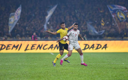 Kuala Lumpur, Malaysia - September 10, 2019 : Malaysia and UAE player in action during FIFA World Cup Qatar 2022 and AFC Asian Cup China 2023 Preliminary Joint Qualification Round 2 at National Stadium Bukit Jalil.