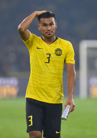 Kuala Lumpur, Malaysia - September 10, 2019 : Shahrul Saad player of Malaysia during FIFA World Cup Qatar 2022 and AFC Asian Cup China 2023 Preliminary Joint Qualification Round 2 at National Stadium Bukit Jalil.