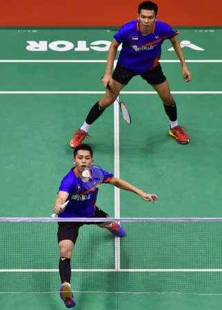 KUALA LUMPUR, MALAYSIA - JANUARY 21, 2018 : Fajar Alfian and Muhammad Rian Ardianto of Indonesia Men's Doubles during the Perodua Malaysia Masters 2018 at Axiata Arena, Bukit Jalil.