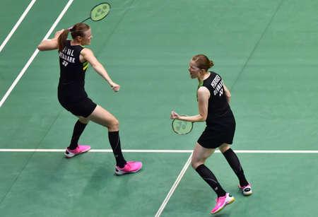 KUALA LUMPUR, MALAYSIA - JANUARY 21, 2018 : Kamil Rytter Juhl and Christinna Pedersen of Denmark Women's Doubles during the Perodua Malaysia Masters 2018 at Axiata Arena, Bukit  Jalil.
