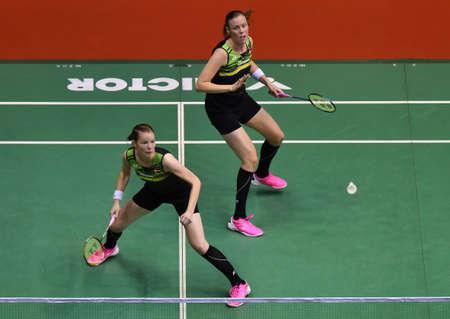 KUALA LUMPUR, MALAYSIA - JANUARY 21, 2018 : Kamilla Rytter Juhl and Christinna Pederson of Denmark Women's Doubles during the Perodua Malaysia Masters 2018 at Axiata Arena, Bukit Jalil.