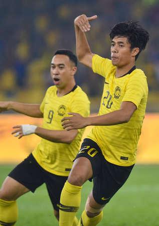 Kuala Lumpur, Malaysia - September 10, 2019 : Malaysia player Syafiq Ahmad score goal during FIFA World Cup Qatar 2022 and AFC Asian Cup China 2023 Preliminary Joint Qualification Round 2 at National Stadium Bukit Jalil. 에디토리얼