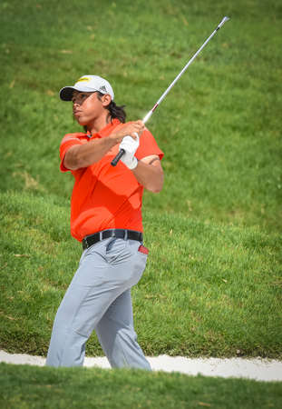 Kuala Lumpur, Malaysia - October 12, 2017 : Gavin Kyle Green of Malaysia in action during the first round of the CIMB Classic 2017 golf tournament at TPC Kuala Lumpur. Redactioneel