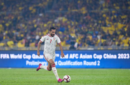 Kuala Lumpur, Malaysia - September 10, 2019 : United Arab Emirates (UAE) player Ali Ahmed Mabkhout in action during FIFA World Cup Qatar 2022 and AFC Asian Cup China 2023 Preliminary Joint Qualification Round 2 at National Stadium Bukit Jalil. 에디토리얼