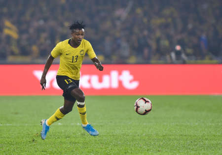 Kuala Lumpur, Malaysia - September 10, 2019 : Malaysia player, Mohamadou Sumareh in action during FIFA World Cup Qatar 2022 and AFC Asian Cup China 2023 Preliminary Joint Qualification Round 2 at National Stadium Bukit Jalil.