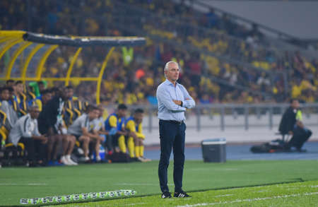 Kuala Lumpur, Malaysia - September 10, 2019 : United Arab Emirates (UAE) Head Coach, Lambertus Marwijik during FIFA World Cup Qatar 2022 and AFC Asian Cup China 2023 Preliminary Joint Qualification Round 2 at National Stadium Bukit Jalil.
